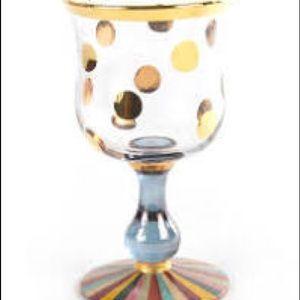 MacKenzie-Childs set of 6 new Foxtrot wine glasses